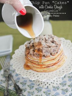 Chocolate Chip Pan Cakes with Cookie Dough Crumble 4 text