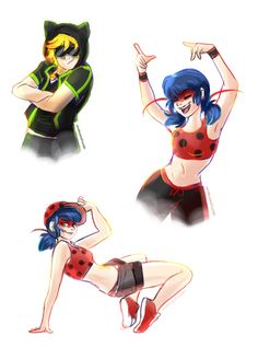 Break dance AU (belongs to Starrycove) ladybug and Chat Noir by windlessleaf