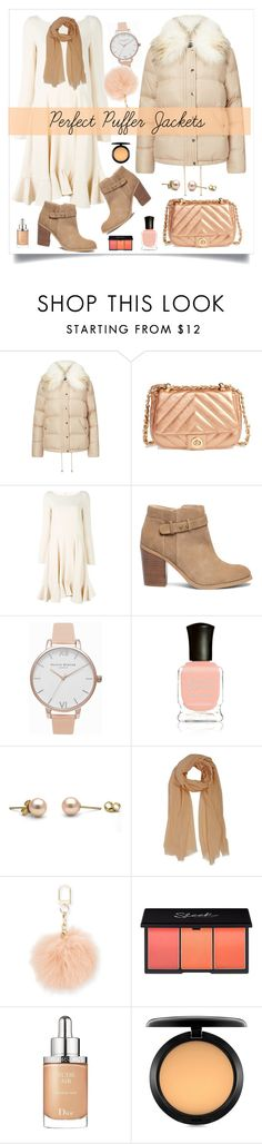 """Perfect Puffer Jackets"" by alinepinkskirt ❤ liked on Polyvore featuring Miss Selfridge, BP., Chloé, Sole Society, Olivia Burton, Deborah Lippmann, Tory Burch, Christian Dior and MAC Cosmetics"