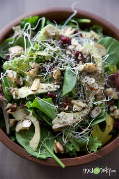 Cranberry Avocado Salad with a Sweet White Balsamic Vinaigrette
