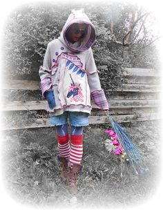 Unicorn Sweater Recycled Hooded Jumper Upcycled by TheTopianDen