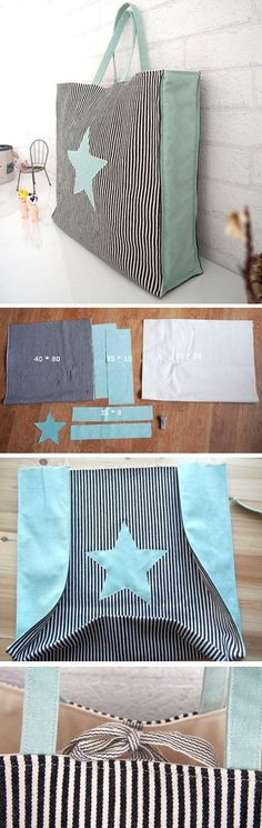Quick Market Tote Bag Sewing Tutorial. It's a great simple and versatile tote bag that is easy to sew and can be customized a bunch of different ways. www.handmadiya.co...