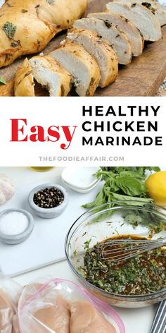 This healthy chicken marinade for skinless breasts or any other cut of chicken is prepared in under 5 minutes with stocked fresh ingredients. A handful of herbs and spices that you probably already have in your pantry and refrigerator is all that is needed. Add to salads, shred to use in other recipes or just enjoy as it is! #chickendinner #healthyrecipe #marinade #lowcarb