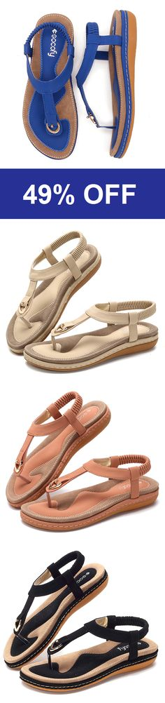 b5b755cc26b Comfortable Elastic Clip Toe Flat Beach Sandals.SHOP NOW