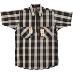 BEN DAVIS HALF ZIP WORK SHIRT PLAID BLACK CREAM