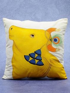 Buy Yellow Ivory Cotton Hand Painted Dhenu Cushion Cover x Home Textiles… Diy Pillow Covers, Diy Pillows, Cushions, Hand Painted Dress, Hand Painted Fabric, Cushion Cover Designs, Pillow Cover Design, Fabric Paint Designs, Stencil Designs