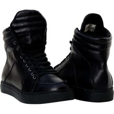 Matte Black Nappa Leather. Cushioned Comfortable Insoles. Shock Absorbant Soles. Imported High Top Sneakers.