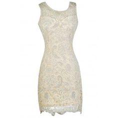 Cream Lace Pencil Dress, Beige Lace Pencil Dress, Cream Lace Rehearsal Dinner Dress, Cream Lace Bridal Shower Dress, Beige Lace Rehearsal Dinner Dress, Beige Lace Bridal Shower Dress, Cute Lace Dress