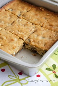 Egg Nog Blondies with dark chocolate...there's just a subtle egg nog flavor in these deliciously moist bars!