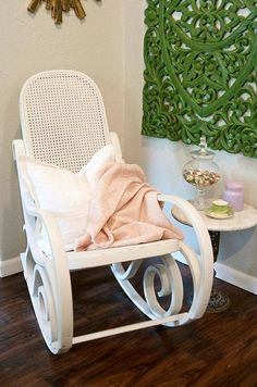 White Bentwood Rocking Chair, Rocker, White Nursery Chair, Pink Blanket, Shabby Chic Nursery, Custom Painted, Noteworthy Home