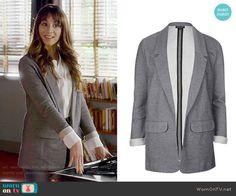 Spencer's grey blazer on Pretty Little Liars. Outfit Details: https://wornontv.net/70552/ #PLL