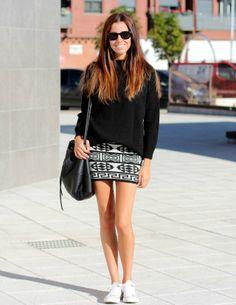 Black Shades + Black Sweater + Aztec Print Skirt + White Converse + Black Bag