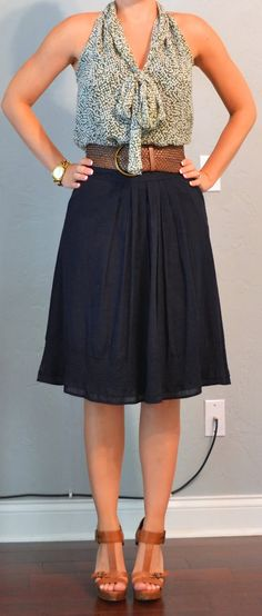 Outfit Posts: outfit posts: green tie blouse, navy a-line skirt, tan t-strap heels. Way cute