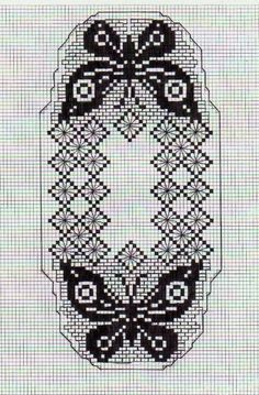 Moje Heklanje By Rada 489 Crochet Butterfly Pattern, Butterfly Cross Stitch, Beaded Cross Stitch, Crochet Motif, Cross Stitch Embroidery, Crochet Home, Cross Stitch Patterns, Crochet Doilies, Crochet Table Runner
