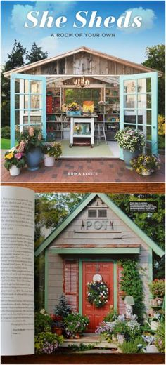 Potting Shed Featured in She Sheds: A Room of Your Own! Lots of inspiration for . Potting Shed Fea Peach Dumplings, She Sheds, Potting Sheds, Window Boxes, Easter Table, Shed Plans, Cookies Et Biscuits, Flower Arrangements, Gazebo