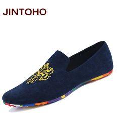 Jintoho suede zapatos de los hombres de moda de cuero suave zapatos planos resbalón ocasional en mocasines holgazanes hombres hight calidad de conducción pisos
