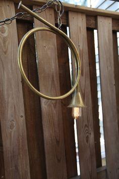 Brass Post (French) Horn Hanging Pendant Light.