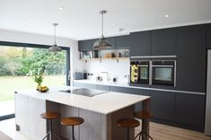 Here are the Dark Grey Kitchen Design Ideas. This article about Dark Grey Kitchen Design Ideas was posted under the Kitchen category by our team at August 2019 at am. Hope you enjoy it and don't forget to . Grey Kitchen Designs, Beautiful Kitchen Designs, Contemporary Kitchen Design, Beautiful Kitchens, Modern Design, Small Modern Kitchens, Grey Kitchens, Bespoke Kitchens, Kitchen Modern