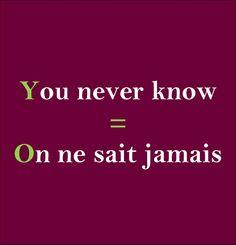 You never know = On ne sait jamais