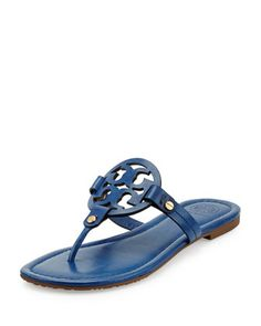 Miller Leather Logo Thong Sandal, Greek Blue by Tory Burch at Neiman Marcus.
