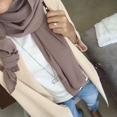 Earth Grey ( purple gray) scarf/hijab   + white shirt + beige cardigan jacket + light boyfriend jeans