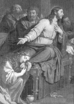 """A woman of many sins, Mary Magdalene's soul had been touched at the house of Simon the Pharisee.  The beautiful courtesan weeps at the feet of Jesus as she anoints Him with her tears of sorrow and the fragrant ointment.  Jesus looks at her lovingly, """"Go in peace,"""" He says, """"your sins are forgiven, your faith has saved you."""" (Luke 7:36-50)"""