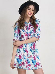 Shop Multicolor Floral 3/4 Sleeve Bow Tie Front Dress from choies.com .Free shipping Worldwide.$29.9