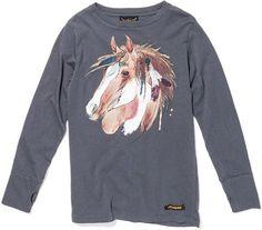 Finger in the Nose - donkergrijs t-shirt paard - Donkergrijs t-shirt met  grafische print van een paard. Uiteraard met de gekende duimopeningen. 100% katoen.