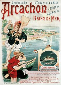 chemins de fer d'orléans et du midi - Arcachon - Bains de mer - 1896 - illustration de Geache - France -