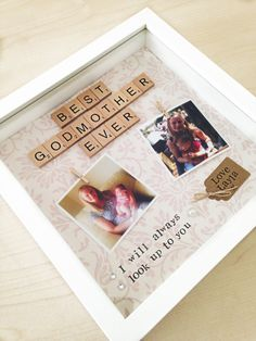 Godmother scrabble frame: a lovely personalised scrabble frame with free photo printing, also available for Godfather or Godparents Personalised godmother scrabble photo frame gift- godfather, godparent Scrabble Crafts, Scrabble Frame, Scrabble Art, Cute Gifts, Diy Gifts, Godparent Gifts, Godparent Ideas, Godchild, Decoration Photo