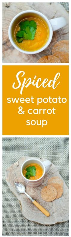 Lightly Spiced Sweet Potati and Carrot Soup. A velvety smooth soup you'll love. It' easy to make too. Suitable for vegetarians, vegans and dairy-free diets.
