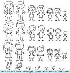 zeichnen lernen – Strichmännchen Clipart Clip Art Stick Menschen Familie von…