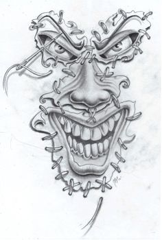 joker face commission by markfellows on DeviantArt – Tattoo Sketches & Tattoo Drawings Evil Clown Tattoos, Evil Skull Tattoo, Skull Tattoos, Body Art Tattoos, Demon Tattoo, Samurai Tattoo, Clown Face Tattoo, Tattoo Design Drawings, Skull Tattoo Design