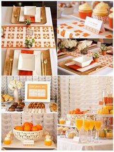 Orange bridal shower brunch... white bowls on bamboo plates?