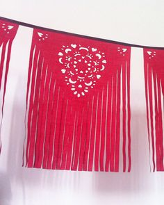 red fringe banner papel picado inspired fabric by BaloolahBunting
