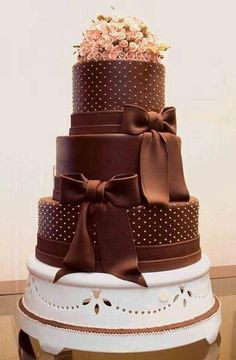 Brown wedding cake.