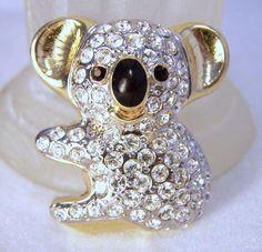 Vintage Rhinestone Baby Koala Bear Pin Enamel by GretelsTreasures