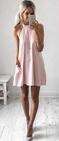 Pastel Pink Halter Little Dress | Kirsty Fleming