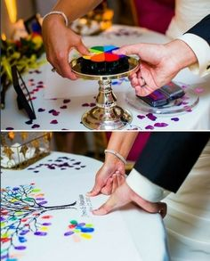 thumbprint tree guest book, I love doing it with all the different colors! In addition to a regular guest book. Wedding Guest Book, Wedding Day, Wedding Reception, Lgbt Wedding, Wedding Stuff, Reception Ideas, Wedding Gifts, Wedding Souvenir, Cool Wedding Ideas