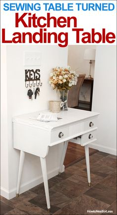 Kitchen landing table makeover @How to Nest for Less