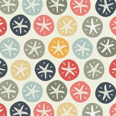 Jenny Lee Katz fabric design - Sand Dollars (in Welsh: Tywod Arian) Motifs Textiles, Textile Patterns, Textile Design, Fabric Design, Pretty Patterns, Color Patterns, Paper Scrapbook, Pattern Illustration, Graphic Patterns
