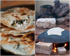 saj bread stuffed with nettles and feta cheese // sarah melamed #middleestern #bread #cheese