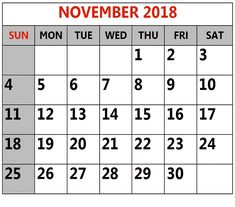Free Printable Calendar November 2018 For Kids Homework Schedule