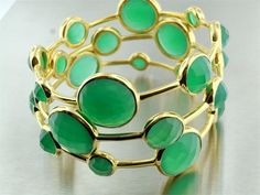 Green Onyx Gold Bubble Bangles...