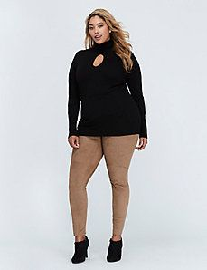 High-Waist Faux Suede Leggings by Lysse