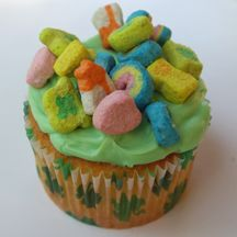 LUCKY CHARM CUPCKES: For St. Patrick's Day or anytime you need a bit of good luck, make these easy cupcakes with Lucky Charms cereal on top. They're magically delicious!