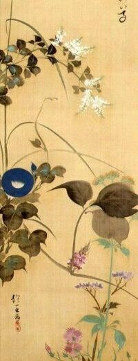 Detail. 秋草図 酒井抱一. Sakai Hoitsu. Flowers and Moon.  Japanese hanging scroll. Edo period