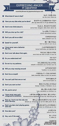 Infographic: how to express anger in Japanese part 3