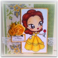 Blooming Day | EMA-gination, Image: Belle from Alicia Bel. Image colored with Copic markers. Sentiment -  From the Heart Stamps. Ribbon from fabric department at Hobby Lobby. Pattern and plain card stock and flower and handmade flowers are from my stash.