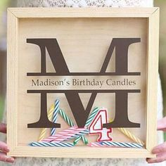 Monogrammed Birthday Candle Storage Art - Buy the vinyl, make the gift!  Perfect for a first birthday!  LOVE!  What a fun keepsake!  DIY Birthday Gift